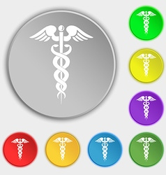 Medicine icon sign symbol on eight flat buttons vector
