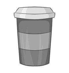 Paper cup of coffee icon black monochrome style vector