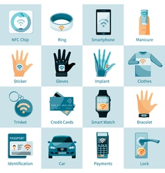 NFC Technology Icons Set Flat Style vector image