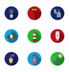 Light source set icons in flat style big vector