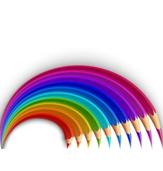 Colorful pencils in the shape of a rainbow vector
