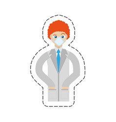 cartoon doctor with mask coat clinic vector image