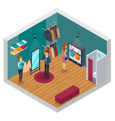 Trying shop isometric interior concept vector