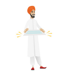 Hindu businessman holding a contract vector
