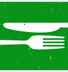 Cutlery on green background vector