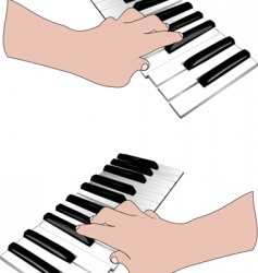 Hand and music keyboards vector