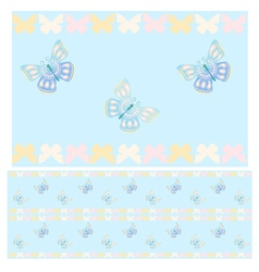 Blue butterflies seamless pattern vector