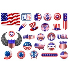 American patriotic badges symbols and labels vector