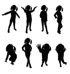 Kids silhouette black vector
