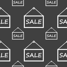 Sale tag icon sign seamless pattern on a gray vector