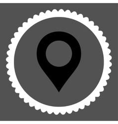 Map marker flat black and white colors round stamp vector