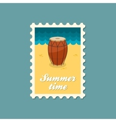 Drum flat stamp vector