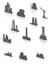 Black factory icons set vector
