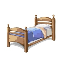 Wood bed in cartoon style vector