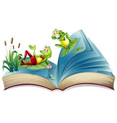 Open book with two frogs in the pond vector