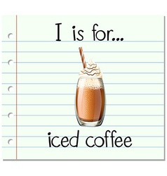 Flashcard alphabet i is for iced coffee vector