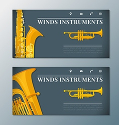 wind music instruments banners templates vector image