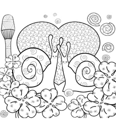 Cute snails adult coloring book page vector