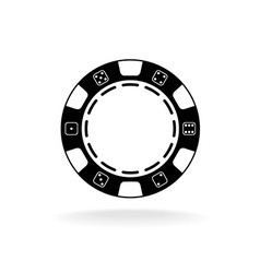 Casino poker chip black symbol with empty space in vector