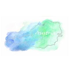 Austria watercolor map vector
