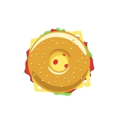 Bagel sandwich logo donut with meat tasty vector image