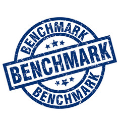 Benchmark blue round grunge stamp vector