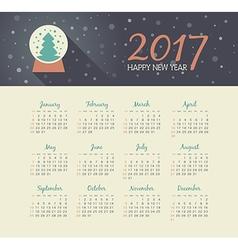 Calendar 2017 year with christmas snow globe vector