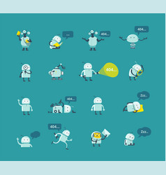 Character robot set different situations 404 vector
