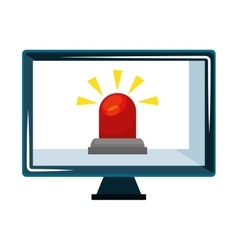 computer with alarm siren isolated icon vector image
