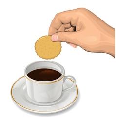 Cookie in hand vector