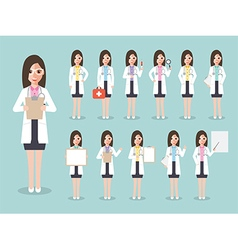 Doctor medical and hospital staff characters vector image