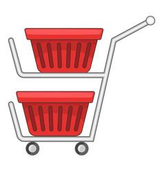 Double shopping cart icon cartoon style vector