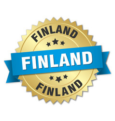 Finland round golden badge with blue ribbon vector