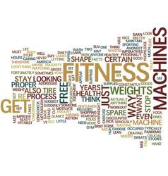 Fitness machines text background word cloud vector