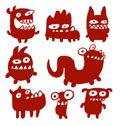 funny red flat monsters vector image