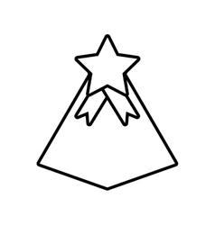 Gift box pyramid star ribbon decorative outline vector