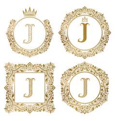 Golden letter j vintage monograms set heraldic vector