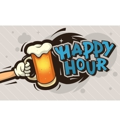 Happy Hour Cartoon Poster Design With An vector image vector image