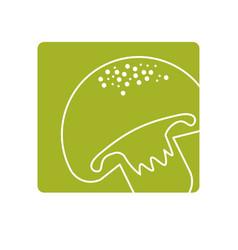 Label delicious fresh mushroom organ food vector
