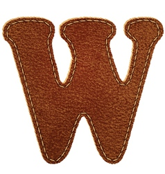 Leather textured letter W vector image vector image