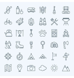 Line Camping Icons vector image