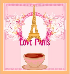 Love paris with tower eiffel and coffee over pink vector