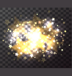 Luxury gold star with sparkles and bokeh on vector