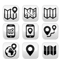 Map travel buttons set vector