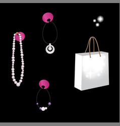 Package and jewelry isolated on a black background vector