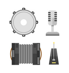 Piano keyboard accordion microphone tambourine vector
