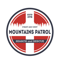Professional mountains patrol vintage label vector