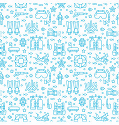 Scuba diving snorkeling seamless pattern water vector