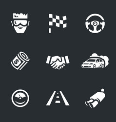Set of street racing icons vector