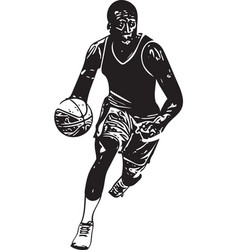 Sketch of basketball player vector